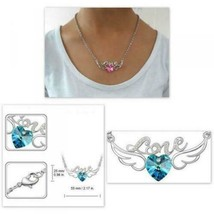 18K White Gold Plated Heart Swarovski Elements Crystal Necklace - Pink - $10.88