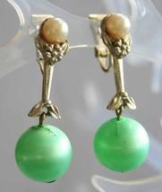 Elegant Coro Mint Green & Faux Pearl Gold-tone Drop Clip Earrings  1960s... - $12.30