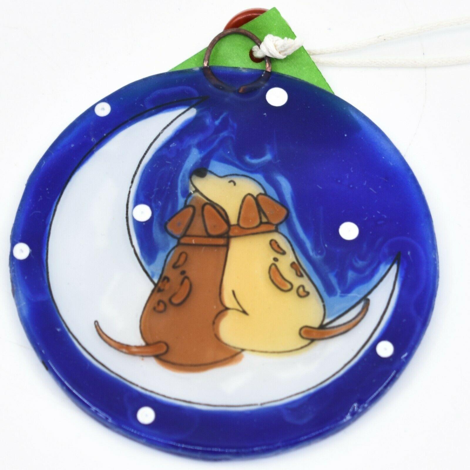Fused Art Glass Dogs Cuddling on Moon Ornament Handmade in Ecuador