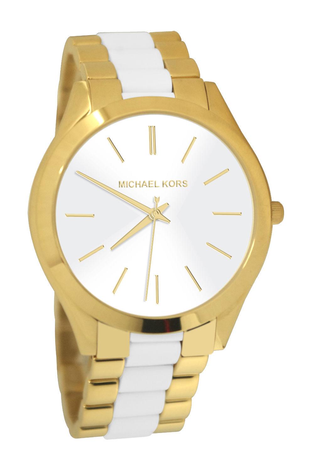 a5c1266cabf5 new + box women s MICHAEL KORS Slim Runway MK4295 White   Gold Tone Steel  WATCH