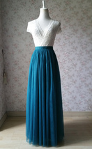 DEEP GREEN Floor Length Tulle Skirt High Waisted Wedding Party Bridesmaid Skirt