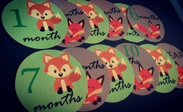 Monthly baby stickers bodysuit labels - Foxes. - $7.99