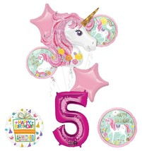 "Unicorn Party Supplies ""Believe In Unicorns"" 5th Birthday Balloon Bouque... - €21,61 EUR"