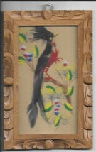 LOT OF 4 1950s MEXICO BIRD FEATHER ART IN HAND CUT FRAMES(MFA-2) - $74.24