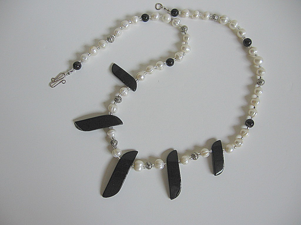 Bold, Handmade Black Obsidian & Pearl Necklace Bonanza