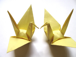 100 Large Light Yellow Color Origami Cranes - $25.00