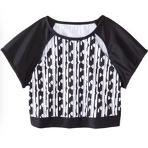 Peter Pilotto Target Rash Guard Crop top  Black White Geometric Sz X Lar... - $17.99