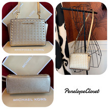 NWT MICHAEL KORS SAFFIANO LEATHER SELMA STUD MINI CROSSBODY BAG IN PALE ... - $79.88