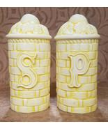 Vintage Large Yellow Basket Weave Salt and Pepper Shaker Set, c. 1960s - $4.50