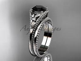 Flower bridal set platinum  unusual Black diamond engagement ring ADLR377S - $2,325.00