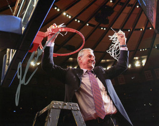 Jim Calhoun signed Connecticut Huskies 16X20 Photo  (3X National Champs Cutting