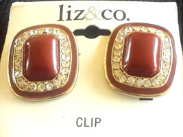 New Old Stock Vintage Liz & Co Liz Claiborne Enamel Rhinestone Clip On E... - $2.99