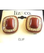 New Old Stock Vintage Liz & Co Liz Claiborne Enamel Rhinestone Clip On E... - $3.00