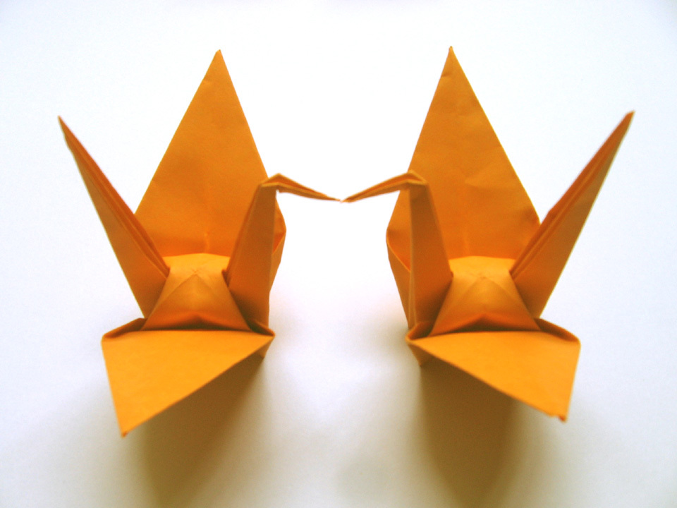 100 Large Hot Orange Color Origami Cranes