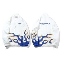 Mens Hip Hop Jacket Coat Embroidery Fire Flame Track Jacket Windbreaker ... - $69.92