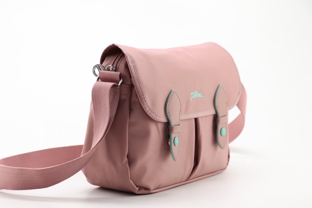 Longchamp Le Pliage CLUB Crossbody Bag Satchel Adjustable Strap Light Pink