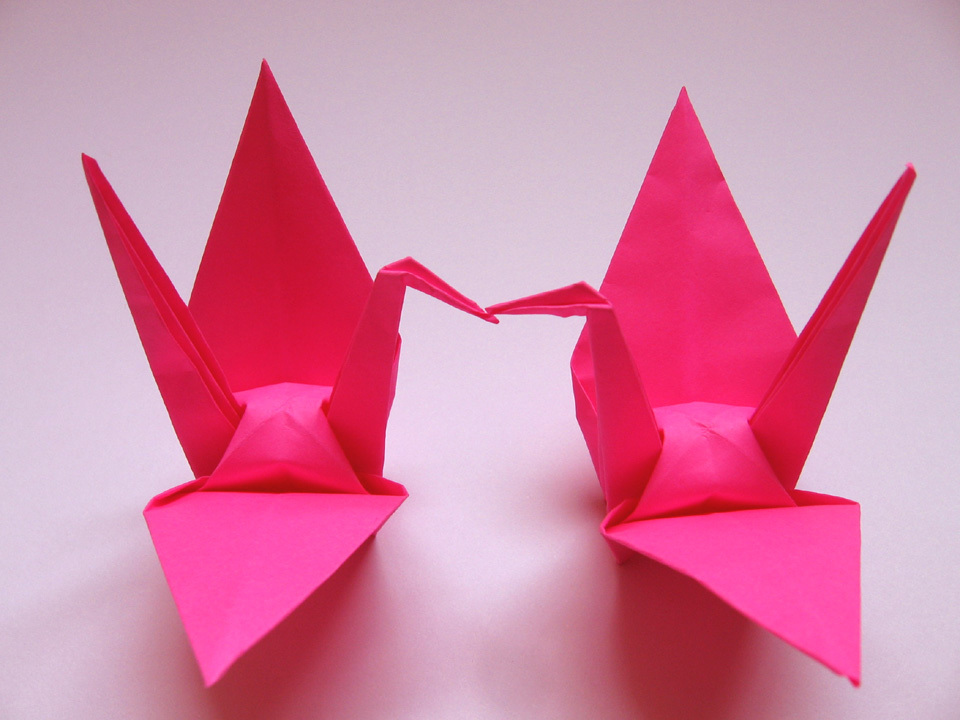 100 Large Hot Pink Color Origami Cranes
