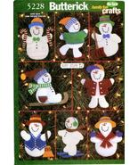 Butterick 5228 FELT NO-SEW SNOWMEN Ornaments Pattern - $10.00