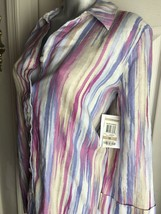 New JM Collection Linen Button Down Shirt Blouse Top Painted Gardens- si... - $19.79