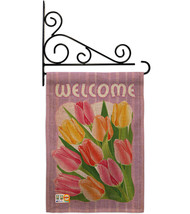 Welcome Tulips Burlap - Impressions Decorative Metal Fansy Wall Bracket Garden F - $33.97