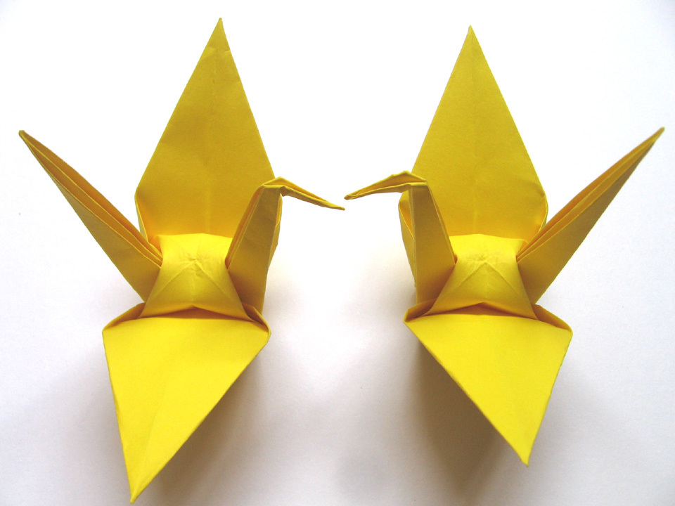 100 Large Hot Yellow Color Origami Cranes