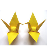 100 Large Hot Yellow Color Origami Cranes - $25.00