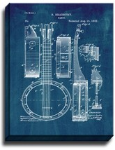 Banjo Patent Print Midnight Blue on Canvas - $39.95+
