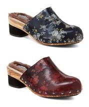 New Womens Jambu Monaco Floral Leather Mule Clogs Wine or Dark Navy MSRP $149 - $65.00