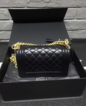 Authentic Chanel Quilted Leather Black Small Boy Flap Bag GHW image 2