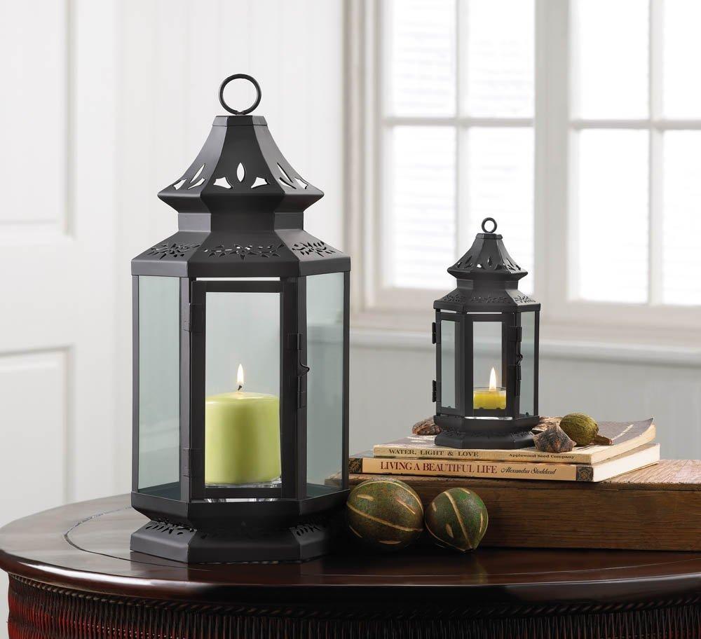 Metal Candle Lantern, Black Iron Stagecoach Decorative Lanterns For Candles
