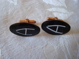 Vintage Copper ~ Enamel Initial Cuff Links ~ A - $6.00