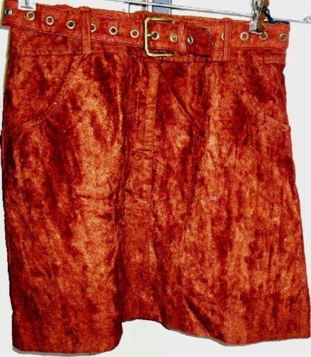 Vtg 70s MOD brown velour Mini Skirt with belt Tripp