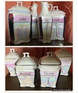 ANTIQUE Pink Copper Opal LUSTERWARE CANISTER SET 8pc WHITE BLOCK GERMANY... - $169.14