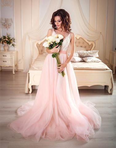 Pink A line v neck tulle lace long prom dresses, pink evening dresses,BD2803