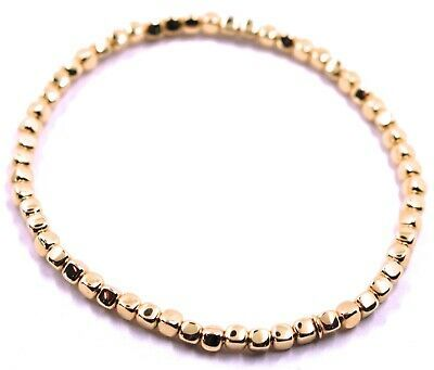 "SOLID 18K ROSE GOLD ELASTIC BRACELET, CUBES DIAMETER 3 MM 0.12"", MADE IN ITALY"