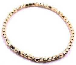 "SOLID 18K ROSE GOLD ELASTIC BRACELET, CUBES DIAMETER 3 MM 0.12"", MADE IN ITALY image 1"