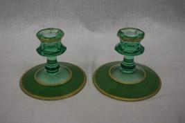 Pair of 2 Green Uranium Vaseline UV Depression Glass Candlesticks w/Gold... - $59.99