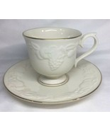 Lenox Fruits Of Life Discontinued Pattern Footed Tea Cup And Saucer - $19.34
