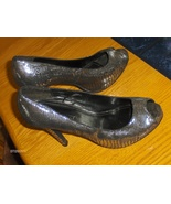 Charles Albert Stiletto Heel Shoes Black Silver Metallic Snakeskin Peep ... - $19.99