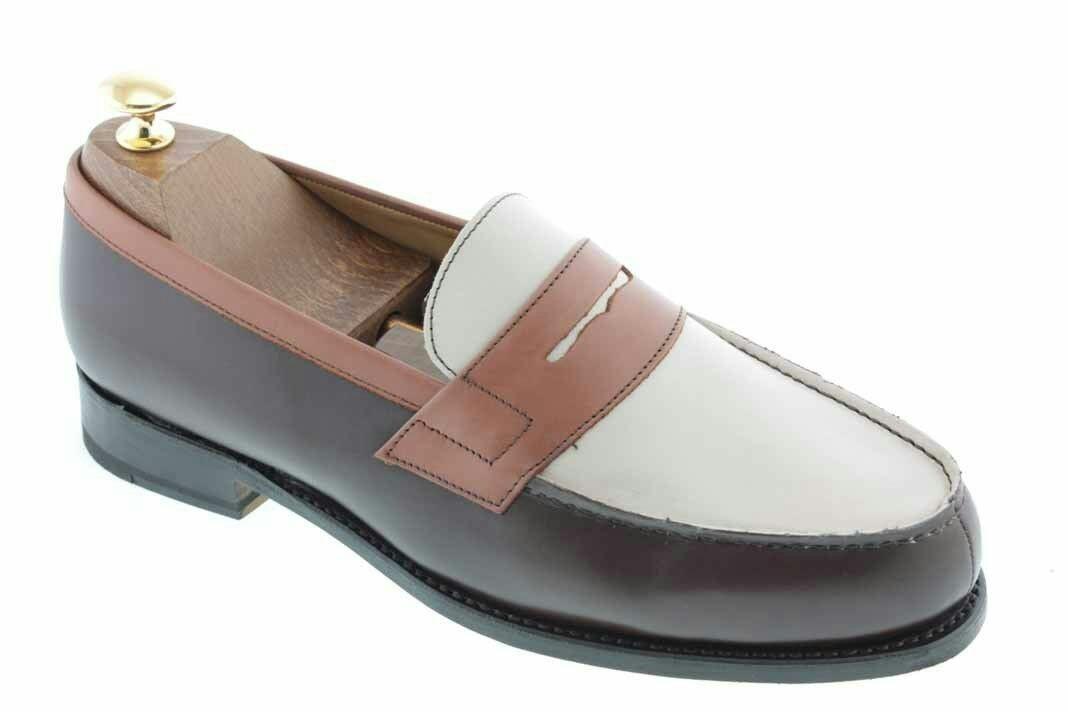 Made To Order Men Tri Color Moccasin Loafer Slip Ons Vintage Leather Shoes