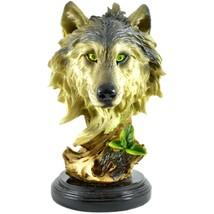 "Americana Rustic Nature Gray Wolf Head Bust 8.5""  Resin Figurine - $394,50 MXN"