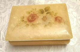 Vintage Himark Giftware Hinged Floral Design Genuine Alabaster Trinket Box Italy image 8