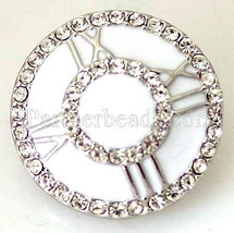 White Roman Numeral Clock Rhinestone 20mm Snap Charm Jewelry Fits Ginger... - $6.19