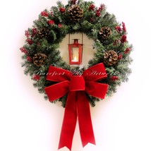 Classy Christmas~Wreath~Timer LED light~Lantern~Pine~Red Bow~Holiday~Doo... - $29.69