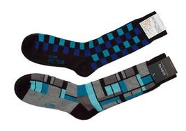 Alfani Men's Socks 2-Pair Value Pack Turquoise Blue Black and Navy Blue ... - $6.38