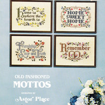 CROSS STITCH OLD FASHIONED MOTTOS HOME FREINDSHIP REMEMBER - $4.50