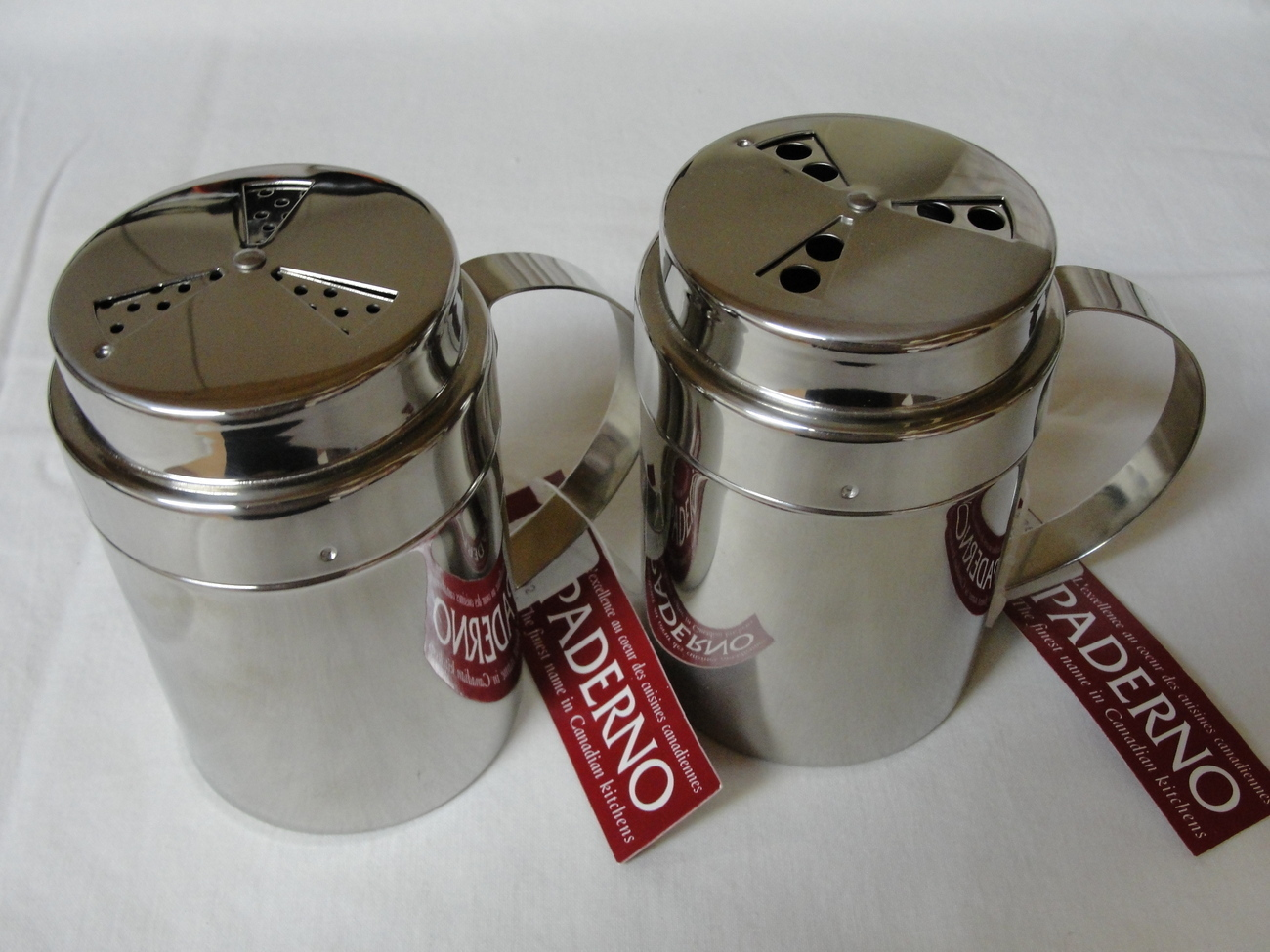 Paderno Two Chrome Shiny Shakers Holes Go From Small To Large Twist The Top NWT
