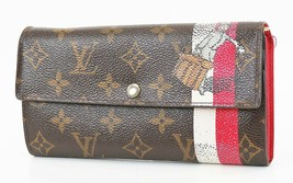 Auth LOUIS VUITTON Sarah Monogram Red Groom Long Wallet Zipper Coin Purs... - $197.10
