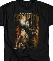 Mortal Combat X Scorpion fighting game Retro 90's graphic T-shirt WBM531 image 3
