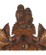 German Cuckoo Clock 8 Day Owls birds nest, fern leaves  by August and Schwer - $645.39